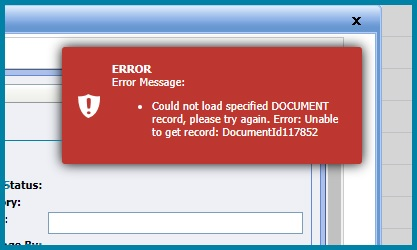 Document Detail Page Error